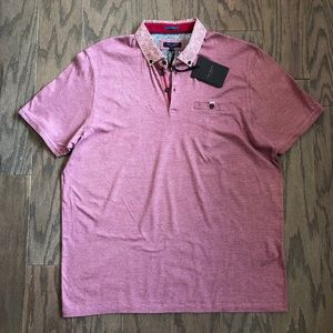 Ted Baker Leaf Printed Woven Collar Cotton Polo